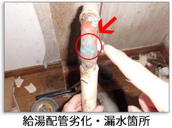 給湯配管劣化・漏水箇所