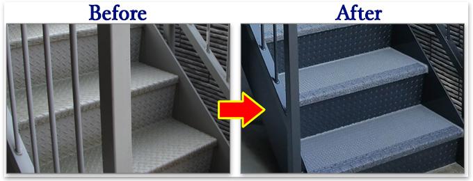 外階段リフォーム施工例滑り止め、防音