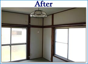 部屋壁天井張り替え畳リフォーム工事例