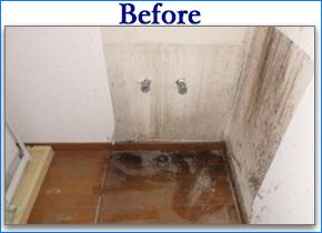 洗面化粧台下漏水リフォーム工事例ビフォーアフター